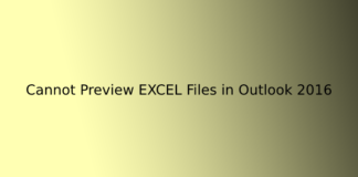 Cannot Preview EXCEL Files in Outlook 2016