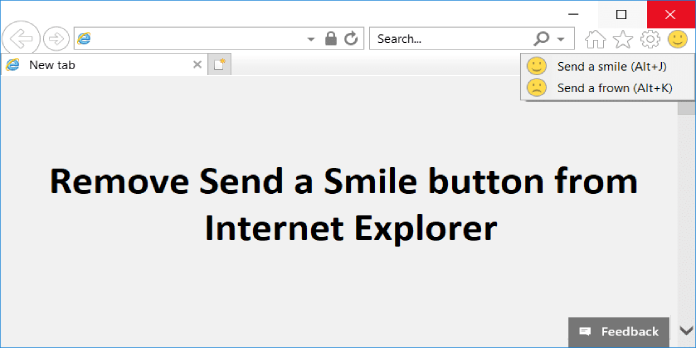 Remove Send a Smile / Send a Frown from Internet Explorer 11